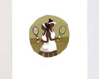 Venus and Serena Williams Portrait Illustration Art Print