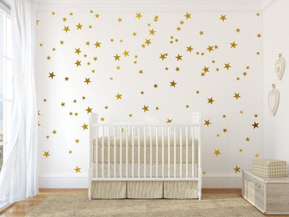 Gold Vinyl Wall Decal Sticker Wall Art Stars Gold Star Decal - Nursery wall decals ukbaby nursery wall decor uk baby room wall art uk grey and yellow