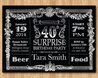 Surprise th birthday invitation chalkboard birthday party
