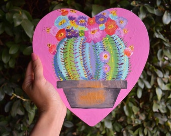Colorful Cactus Heart Painting