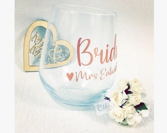 Personalised stemless wine glass, personalized stemless champagne flute, gift for bridesmaid, maid of honour gift, stemless glass, wine glas