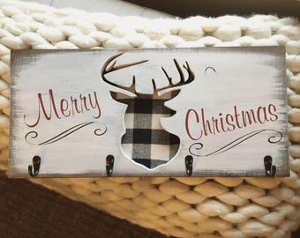 Stocking Holder / Merry Christmas Stocking Holder / Christmas Signs / Rustic Christmas / Holiday Stocking Holder