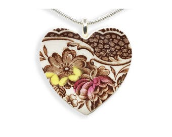 Floral Heart Necklace.  Mothers Gift. Gift for Her. Hand Made Jewelry. Brown Floral. Vintage Broken China. Gift Box. Silver Chain Included