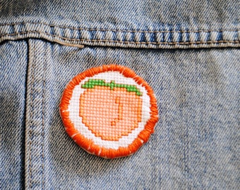 Peach Cross Stitch / Cross Stitch Iron on Patch  / Wearable Art / Peach / Handmade Gift / Cross Stitch / Peach Iron on Patch / Birthday Gift