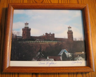 """TWIN LIGHTS Lighthouse portrait Hand Signed by Artist 9"""" by 11"""" Ready to hang"""