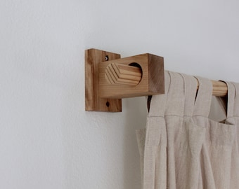 Curtain Holders Rod Modern Wood Brackets Bracket