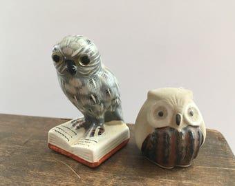 Vintage ceramic owls Set of 2 ceramic owls Ceramic Owl figurines