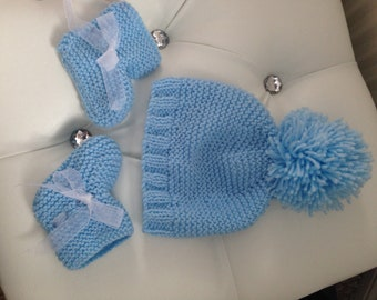 Newborn, baby boy, hat and bootie set. Perfect for christenings, baby showers or birthday gifts.