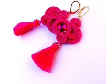 Hot Pink Tassel Earrings, Dangle Earrings, Soutache Earrings with Crystals, Pink Earrings, Tassel Earrings, Fashionable  Gypsy Earrings