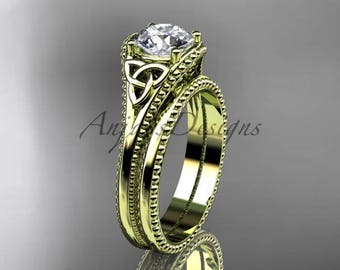 Moissanite Celtic knot wedding rings sets 14k yellow gold engagement ring CT7375S