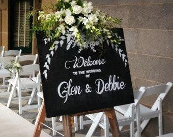 Chalkboard and Easel Wedding Sign