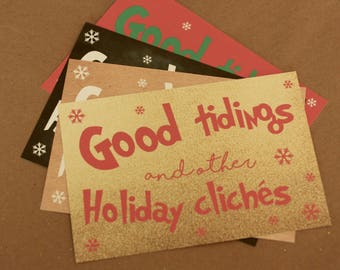 Funny Holiday Card | Set of 8 Christmas Cards with Envelopes | Good Tidings and Other Holiday Cliches in 4 Different Colors