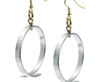 Chased Aluminum Hoop Earrings - Gold Silver Bi-Metal Hoop Earrings - Makes a Great 10th Wedding Anniversary Gift - Hypoallergenic Earrings