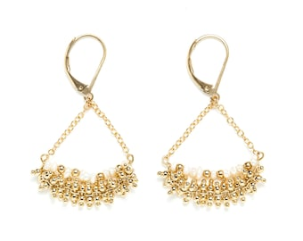 Gold filled earrings / gold and white / natural stones: freshwater pearls / Jour de Mistral / wife Christmas gift idea