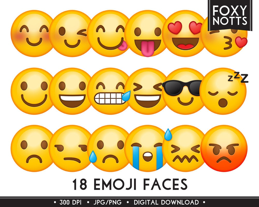 Emoji clip art smiley faces digital download high zoom buycottarizona Choice Image