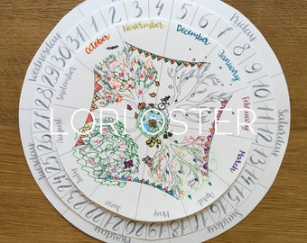 DIY Calendar, Homeschool Calendar, Perpetual Calendar, Coloring Pages, Wheel of the Year, Natural Living, Charlotte Mason, Waldorf Calendar