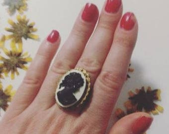 Adjustable Vintage Victorian Steampunk Goth Black and White Statement Cameo Ring