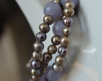 Purple Lepidolite Necklace with Lilac and Grey Freshwater Pearls, Natural Stones