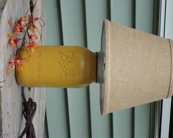 Mustard Mason Jar Lamp, Mason Jar Lighting, Rustic jar Lighting, Distressed Mason Decor, Mustard JarTable Lamp.