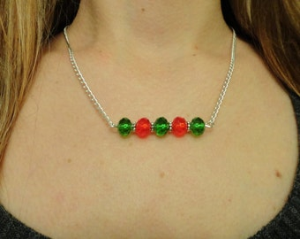 Christmas Necklace, Red and Green Necklace, Crystal Necklace, Holiday Jewelry, Gift for Her, Beaded Bar Necklace, Women's Christmas Jewelry