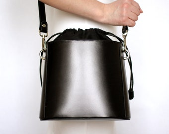 Free shipping! Black leather bag, leather bag, black bag, black shoulder bag, everyday bag, small black bag, black crossbody