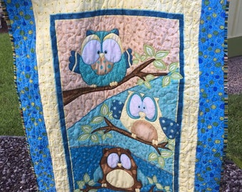 Whoo Me Baby/Nursery Quilt - Quiltsy Handmade