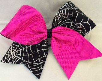 Cheer Bow - Pink with Spider Web