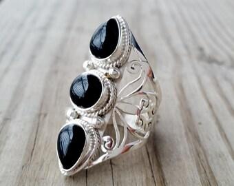 Black Onyx Ring - Black Ring - Silver Chunky Ring - Black Stone Ring - Tribal Ring - Multistone Ring - Gothic Jewelry