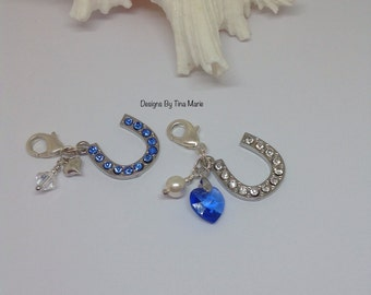 Wedding Something Blue Bouquet Charm, Blue Bridal Charm, Something Blue for Bride, Good Luck Horseshoe, Bridal Gift