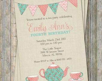 Tea Party Invitation Girl Birthday Party Invite Peronalized
