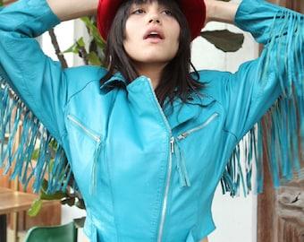 SPRING SALE Vintage Turquoise Motorcycle Jacket