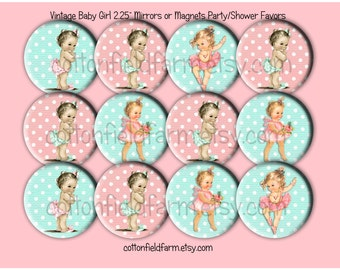 Baby Shower Favors Vintage Retro  Baby Girl Images  2.25 inch Pin Back Buttons, Mirrors or Magnets Set of 12 Set C
