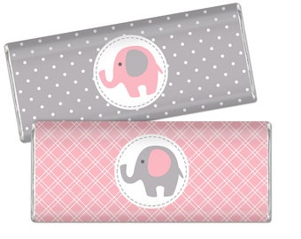 Elephant Chocolate Bar Wrappers - Pink and Grey Chocolate Bar Wraps - Printable Baby Shower Favors - DIY Baby Girl Large Candy Bar Labels
