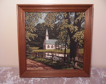 Antique Original Painting on Canvas of Country Church Signed RB Wood Frame 15 x 15 Spiritual Religious Naturalistic Gallery Style Art Work