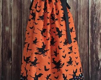 Halloween pillowcase dress, Pillowcase dress, Orange dress with witches, Halloween dress for girls, Halloween Pillowcase dress with witches