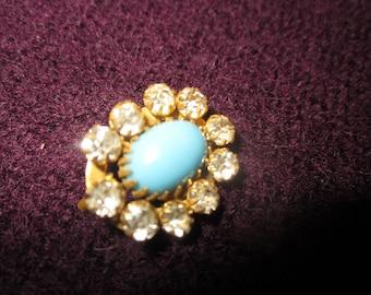 dainty antique pin,rhinestones,blue stone, robins egg blue,victorian brooch
