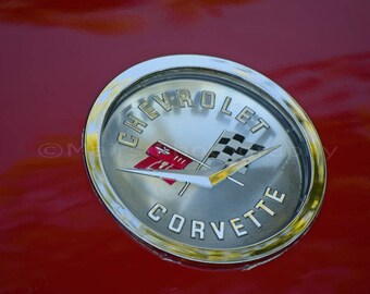 Classic Car, Emblem Silver Red Badge Flags Chrome Corvette, Man Cave Decor, Fine Art Photography matted & signed 5x7 Original Photograph