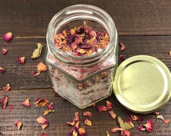 All Natural Rose Petal Bath Salt with Essential Oils - All Natural Dead Sea Bath Salt with Rose Petals - Rose Bud Bath Salt