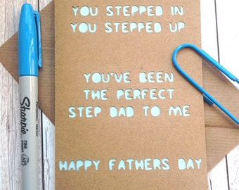 Fathers Day Card for Step Dad, You Stepped Up, Quote Card, Step Father, Perfect Step Dad, Stepdad, Happy Fathers Day, Kraft Card, Dad Card.