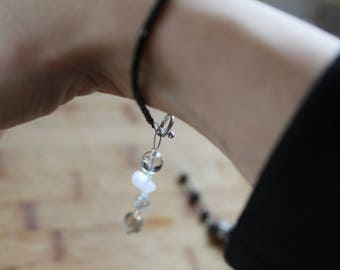 Bracelet with Two Removable Fidgets That Fit in the Palm of the Hand. Crystal,Stone, and Ceramic Beads on Wire