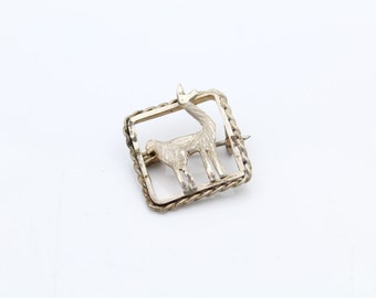 Small Vintage Handcrafted Square Llama Brooch in Sterling Silver. [9324]