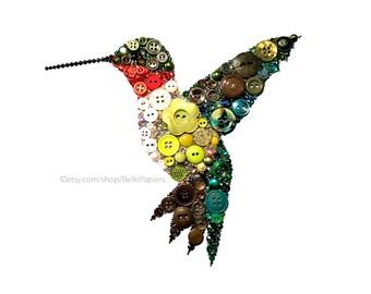 Hummingbird Decorations | Button Wall  Art | Hummingbird Decor | Ruby Throated Hummingbird Art | Swarovski Bird | Hummingbird Gifts