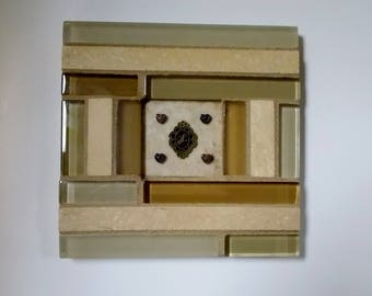 """Tan Gold Beige Glass Travertine Stone Mosaic Tile Trivet with Monogram """"H"""" and Hearts 6"""" x 6"""""""