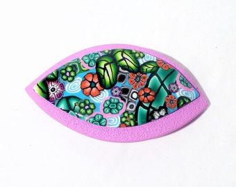 Floral polymer clay hair clip