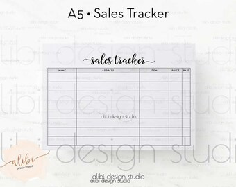 Sales Tracker, A5 Planner Inserts, Sales tracking, Business Tracker, Inventory tracker, Monthly Sales Log, Order Tracker, Business Planner