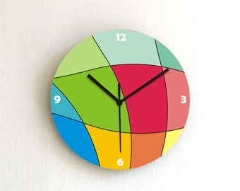 Rainbow Colorful Geometric Modern round wall clock,colorful geometric printed decorative patterned graphic design wooden handmade clock