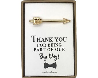 Wedding party thank you gifts,  Best Man, Groomsmen, Arrow tie bar, silver or gold arrow tie clip, Thank you for being part of our big day