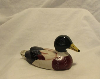 Ceramic Duck, Miniature, Hand Painted