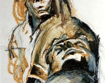 Original, mixed media, portrait 1992