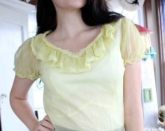 S A L E- Yellow Sheer 1950's Top With Scalloped Detailing